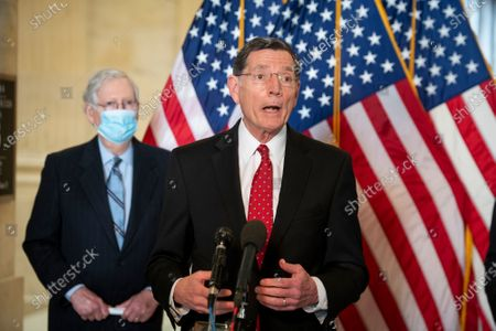 United States Senator John Barrasso (Republican of Wyoming) offers remarks during a press conference following the GOP Senate luncheon, in the Russell Senate Office Building in Washington, DC,.