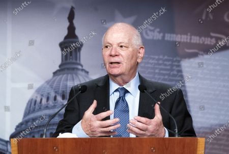 Sen. Ben Cardin, D-Md., speaks during a news conference following the Senate policy luncheon on Capitol Hill in Washington