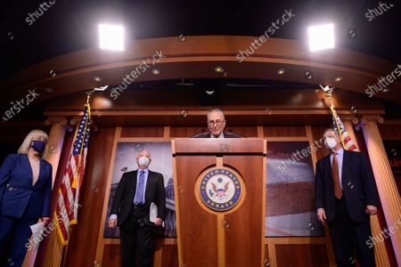 United States Senate Majority Leader Chuck Schumer (Democrat of New York), is joined by Democratic leadership as he speaks during a news conference at the U.S. Capitol in Washington, D.C.. U.S.,. Democrats are pushing for new gun control legislation after the country saw two high-profile mass shootings in one week. From left to right: US Senator Patty Murray (Democrat of Washington), US Senator Ben Cardin (Democrat of Maryland), Leader Schumer, US Senate Majority Whip Dick Durbin (Democrat of Illinois)