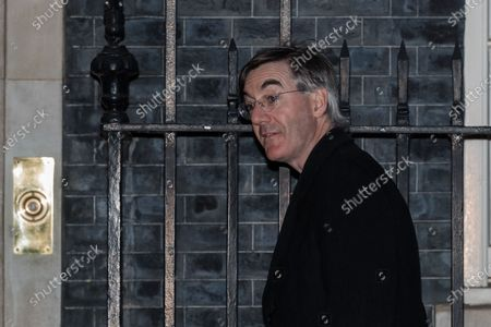 Stock Image of LONDON, UNITED KINGDOM - MARCH 23, 2021: Lord President of the Council and Leader of the House of Commons Jacob Rees-Mogg arrives in Downing Street in central London ahead of National Day of Reflection vigil held to commemorate those who have died from the Coronavirus, on 23 March, 2021 in London, England.