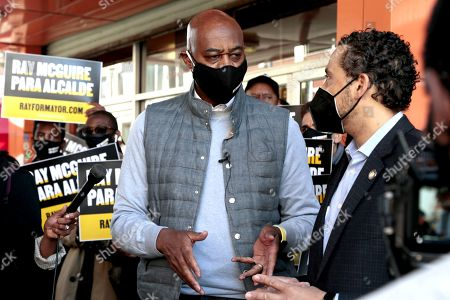 Mayoral Candidate Ray McGuire receives the endorsement of New York Assembly Member Robert Rodriguez while canvassing the East Harlem section of New York City