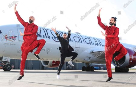 Stock Image of Aston Merrygold surprised dance duo Bounce Bhangra with the news that they are the first winners of Virgin Atlantic's Airplause initiative. Mrinal and Vikram Seth, aka Bounce Bhangra, became a viral sensation when they kept the nation moving after moving their popular Bounce Bhangra classes online. Virgin Atlantic is calling on the nation to choose the next Airplause winner by nominating someone who made them smile during lockdown to win prize flights to top destinations such as the Caribbean, India, Israel or the USA