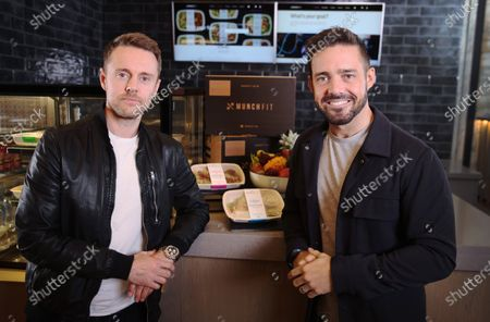 """Stock Photo of MunchFit, healthy food provider to luxury gym Equinox and elite studio Barry's Bootcamp hopes to raise £1m through a crowdfunding round which launches today, in a bid to satiate the growing appetite for meal plans tailored to fitness goals. Founded by Angus Fay (left) in 2013, the upmarket goal-based meals brand is looking for """"Fitvestors"""" to take the business to the next level. One of the """"Fitvestors"""" is entrepreneur and angel investor Spencer Matthews (right), who used the Fuel Lean Meal Plan to help him achieve his impressive Weight Loss Transformation for Men's Health"""
