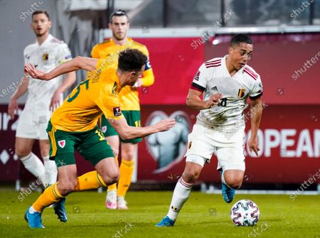 Youri Tielemans of Belgium takes on Ethan Ampadu of Wales