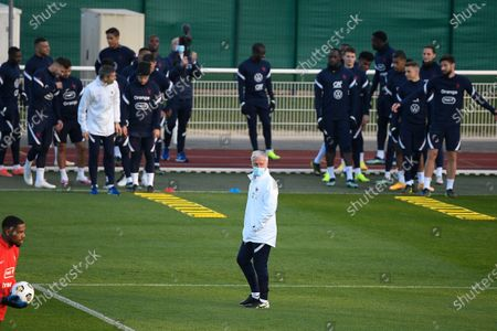 Didier Deschamps during a training session before the world cup qualification match between France and Ukraine in Clairefontaine center