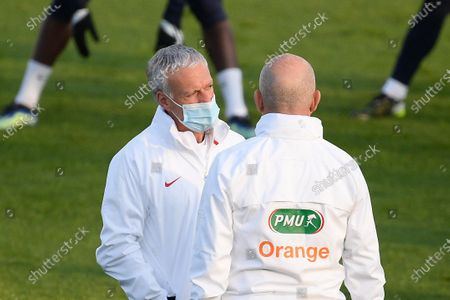 Didier Deschamps and Guy Stephan during a training session before the world cup qualification match between France and Ukraine in Clairefontaine center