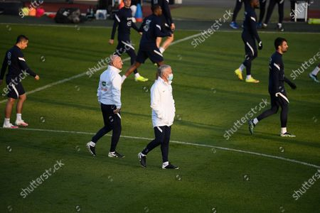 Stock Photo of Didier Deschamps and Guy Stephan during a training session before the world cup qualification match between France and Ukraine in Clairefontaine center