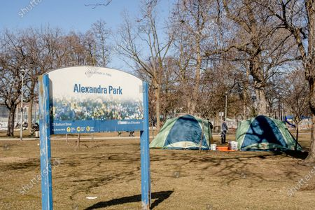 Tiny portable shelters built by private citizen Khaleel Seivwright for homeless people at Alexandra Park during COVID-19 Pandemic.  The City of Toronto has threatened to remove the shelters despite them having majority of support from city residents.