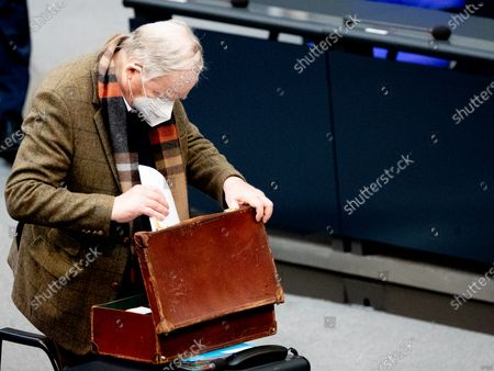 Alternative for Germany (AfD) faction co-leader Alexander Gauland during for session of the German Bundestag in Berlin, Germany, 24 March 2021. The German government takes questions from deputies in a one-hour government questioning.