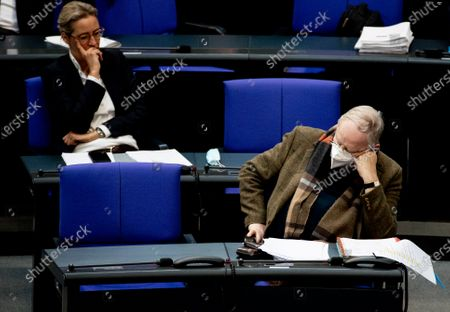 Alternative for Germany (AfD) faction co-leader Alexander Gauland (R) and Alternative for Germany party (AfD) faction co-chairwoman in the German parliament Bundestag and deputy chairwoman Alice Weidel  during session of the German Bundestag in Berlin, Germany, 24 March 2021. The German government takes questions from deputies in a one-hour government questioning.