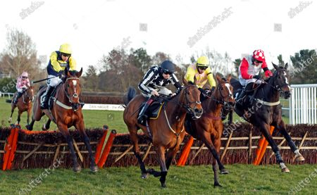 ONE FOR YOU (2nd right, Tom O'Brien) beats FANTASTIKAS (centre) HIGHWAY ONE O ONE (right) and FAWSLEY SPIRIT (left) in The Racing TV Handicap Hurdle Market Rasen