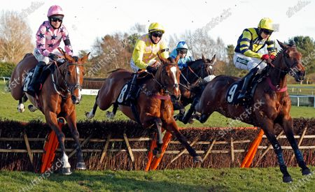 ONE FOR YOU (centre, Tom O'Brien) with THEGALLANTWAY (left) and CHAMBARD (right) on his way to winning The Racing TV Handicap Hurdle Market Rasen