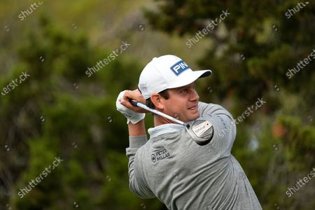 Harris English hits off the fifth tee during a first round match at the Dell Technologies Match Play Championship golf tournament, in Austin, Texas