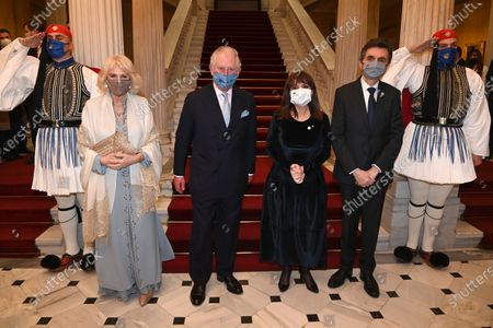 Prince Charles and Camilla, Duchess of Cornwall, Katerina Sakellaropoulou and Pavlos Kotsonis attend an official state dinner and reception at the Presidential Mansion