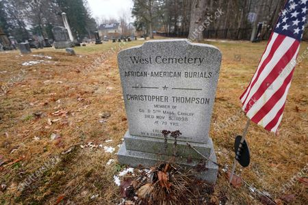 Stock Image of Marker honors Christopher Thompson of Amherst, Mass., noting he served with the colored troops during the Civil War, in Amherst
