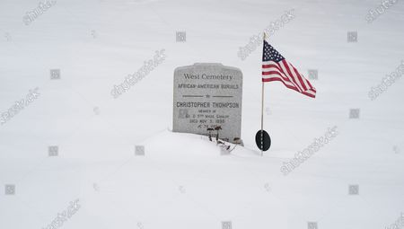Marker honors Christopher Thompson of Amherst, Mass., noting he served with the colored troops during the Civil War, in Amherst