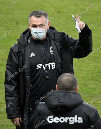 Georgia's national soccer team head coach Willy Sagnol reacts during a training session in Stockholm, Sweden, 24 March 2021, on the eve of the FIFA World Cup 2022 qualifier match between Sweden and Georgia.