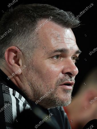 Stock Photo of Georgia's national soccer team head coach Willy Sagnol reacts during a press conference in Stockholm, Sweden, 24 March 2021, on the eve of the FIFA World Cup 2022 qualifier match between Sweden and Georgia.