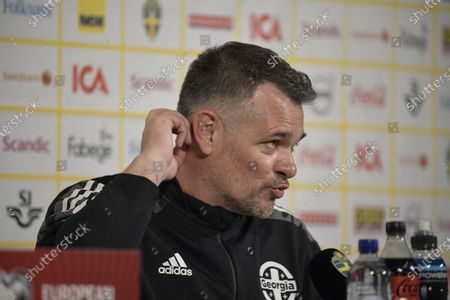 Stock Image of Georgia's national soccer team head coach Willy Sagnol reacts during a press conference in Stockholm, Sweden, 24 March 2021, on the eve of the FIFA World Cup 2022 qualifier match between Sweden and Georgia.