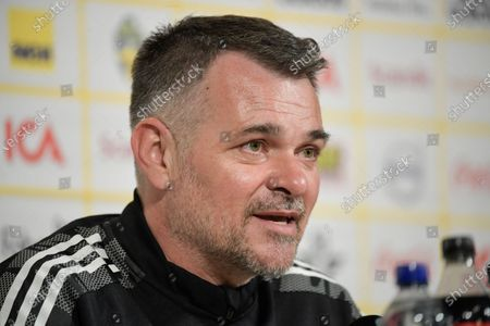 Stock Picture of Georgia's national soccer team head coach Willy Sagnol reacts during a press conference in Stockholm, Sweden, 24 March 2021, on the eve of the FIFA World Cup 2022 qualifier match between Sweden and Georgia.