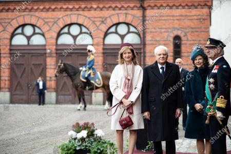 Stock Photo of The President of the Republic of Italy Sergio Mattarella, Ms Laura Mattarella, King Carl Gustaf XVI and Queen Silvia