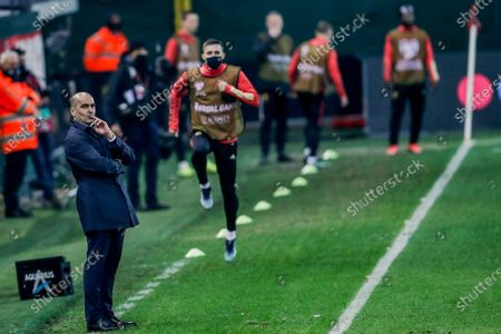 Belgium head coach Roberto Martinez gestures during a World Cup 2022 group E qualifying soccer match between Belgium and Wales at the King Power stadium in Leuven, Belgium