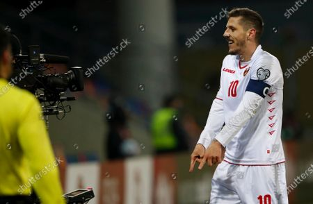 Stevan Jovetic of Montenegro celebrates after scoring a goal during the FIFA World Cup 2022 Group G qualification soccer match between Latvia and Montenegro in Riga, Latvia, 24 March 2021.