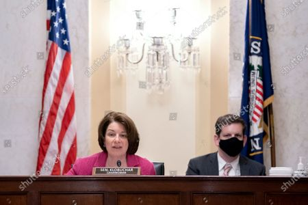 Stock Picture of United States Senator Amy Klobuchar (Democrat of Minnesota), Chairwoman, US Senate Committee on Rules and Administration speaks during a Senate Rules and Administration hearing at the Russell Senate Office Building on Capitol Hill in Washington D.C., U.S..