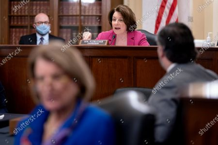 United States Senator Amy Klobuchar (Democrat of Minnesota), Chairwoman, US Senate Committee on Rules and Administration, speaks during a Senate Rules and Administration hearing at the Russell Senate Office Building on Capitol Hill in Washington D.C., U.S..