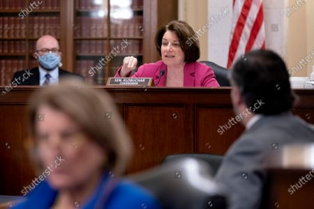United States Senator Amy Klobuchar (Democrat of Minnesota), Chairwoman, US Senate Committee on Rules and Administration speaks during a Senate Rules and Administration hearing at the Russell Senate Office Building on Capitol Hill in Washington D.C., U.S..