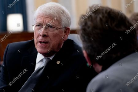 United States Senator Roger Wicker (Republican of Mississippi) speaks to a staff member during a Senate Rules and Administration hearing at the Russell Senate Office Building on Capitol Hill in Washington D.C., U.S..