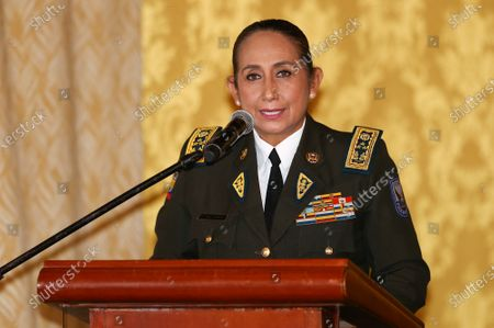Stock Image of General Tanya Varela, the first woman to be appointed as the General Commander of the Ecuadorian Police, delivers a speech during her swearing-in ceremony, in Quito, Ecuador, 24 March 2021. The new police chief will take on the challenge of guaranteeing the country's internal security during the second round of the presidential elections that will take place on April 11, between correista Andres Arauz and bank shareholder Guillermo Lasso.