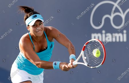 Stock Picture of Heather Watson of Great Britain in action against Nina Stojanovic of Serbia during their Women's singles match at the Miami Open tennis tournament in Miami Gardens, Florida, USA, 24 March 2021.