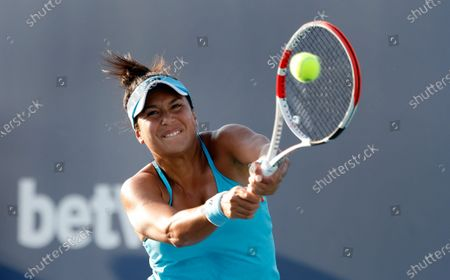 Stock Image of Heather Watson of Great Britain in action against Nina Stojanovic of Serbia during their Women's singles match at the Miami Open tennis tournament in Miami Gardens, Florida, USA, 24 March 2021.