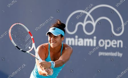 Heather Watson of Great Britain in action against Nina Stojanovic of Serbia during their Women's singles match at the Miami Open tennis tournament in Miami Gardens, Florida, USA, 24 March 2021.
