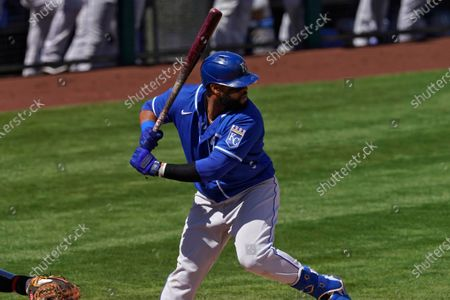 Kansas City Royals first baseman Carlos Santana during a spring training baseball game against the Los Angeles Angels, in Tempe, Ariz