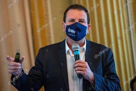 Stock Image of The Mayor of Rio Eduardo Paes announces an emergency financial aid package for the most needy part of the population on March 24, 2021.