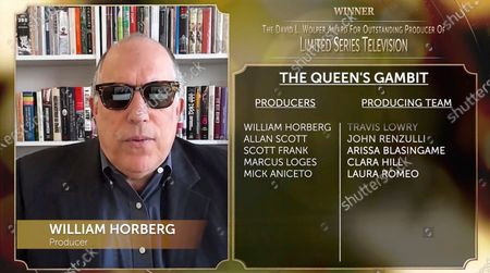"""William Horberg accepts the David L. Wolper award for Outstanding Producer of Limited Series Television for """"The Queen's Gambit"""" at the 32nd Annual PGA Awards presented by General Motors on"""