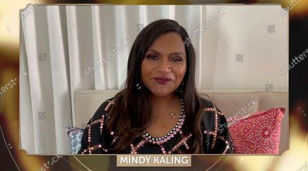 Mindy Kaling presents the award for Outstanding Producer of Animated Theatrical Motion Pictures at the 32nd Annual PGA Awards presented by General Motors on
