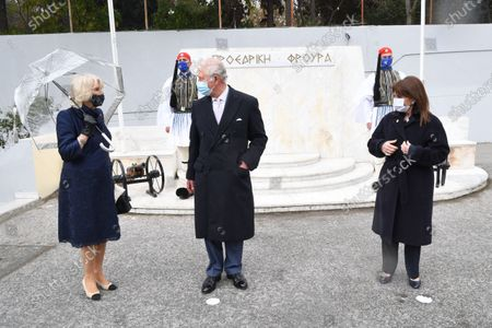 Prince Charles and Camilla Duchess of Cornwall at the Presidential Guard Barracks and are greeted by The Commander of the Presidential Guard