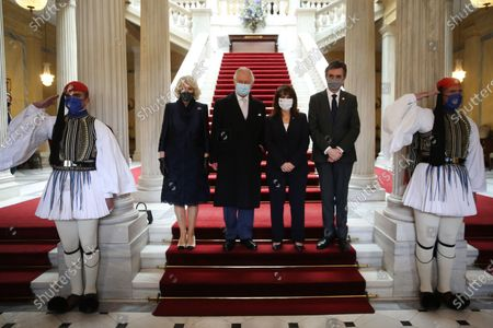 Greek President Katerina Sakellaropoulou (3-R) and her partner Pavlos Kotsonis (2-R) with the Prince of Wales, Charles (3-L) and  the Duchess of Cornwall Camilla (2-L) poses for a photo during their meeting, in Athens, Greece, 25 March 2021, on the anniversary of the Greek Revolution. The anniversary events for the 200 years since the Revolution of 1821 are held with all formalities and the strict observation of all health protection measures against the coronavirus.