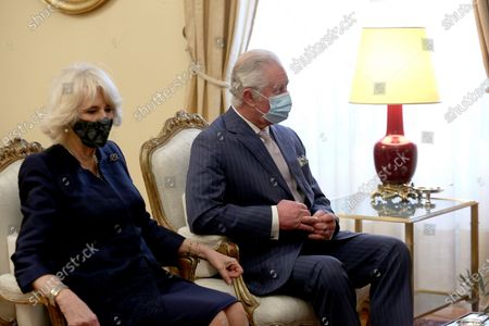 Greek President Katerina Sakellaropoulou and her partner Pavlos Kotsonis (not seen) speaks with the Prince of Wales, Charles (R) and  the Duchess of Cornwall Camilla(L) during their meeting, in Athens, Greece, 25 March 2021, on the anniversary of the Greek Revolution. The anniversary events for the 200 years since the Revolution of 1821 are held with all formalities and the strict observation of all health protection measures against the coronavirus.