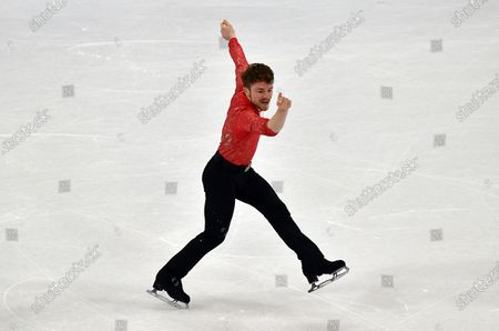 Peter James Hallam of Great Britain performs during the Men Short Program at the Figure Skating World Championships in Stockholm, Sweden