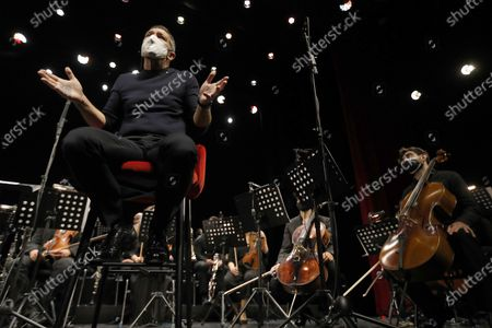 Antonio Banderas chairs the presentation of the new Soho Pop Symphony Orchestra at the Soho theater in Malaga, Andalusia, southern Spain, 25 March 2021.