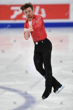 Peter James HALLAM Great Britain, during Men Short Program at the ISU World Figure Skating Championships 2021 at Ericsson Globe in Stockholm, Sweden.