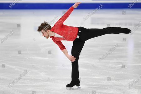 Stock Picture of Peter James HALLAM Great Britain, during Men Short Program at the ISU World Figure Skating Championships 2021 at Ericsson Globe in Stockholm, Sweden.