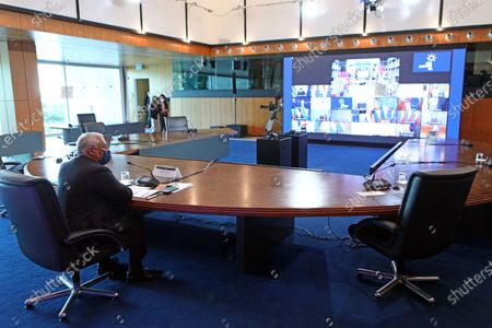 Portuguese Prime Minister Antonio Costa attends a videoconference of the members of the European Council in Lisbon, Portugal, 25 March 2021. EU leaders will meet to take stock of the COVID-19 epidemiological situation and will also discuss transatlantic relations together with US President Joe Biden. The single market, digital transformation, the situation in the Eastern Mediterranean, relations with Russia, and the international role of the euro are also on the agenda.