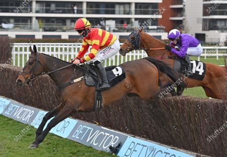 Stock Photo of (L) Tinkers Hill Tommy (Richard Patrick) takes the last on the first circuit before going on to win The BetVictor Conditional Jockeys Veterans Handicap Steeple Chase. Photo © Hugh Routledge