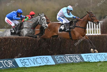 (R) Espoir De Teillee takes the last before going on to win The BetVictor Handicap Steeple Chase from (L) Kalooki (Richard Johnson). Photo © Hugh Routledge