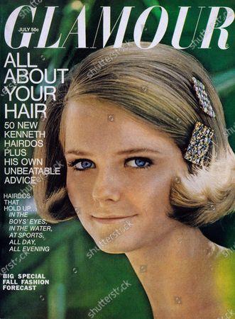 Cheryl Tiegs wearing Mia Cosmedics makeup, and pav?ed fantasy stone hairclips by House of Joy. Cheryl Tiegs